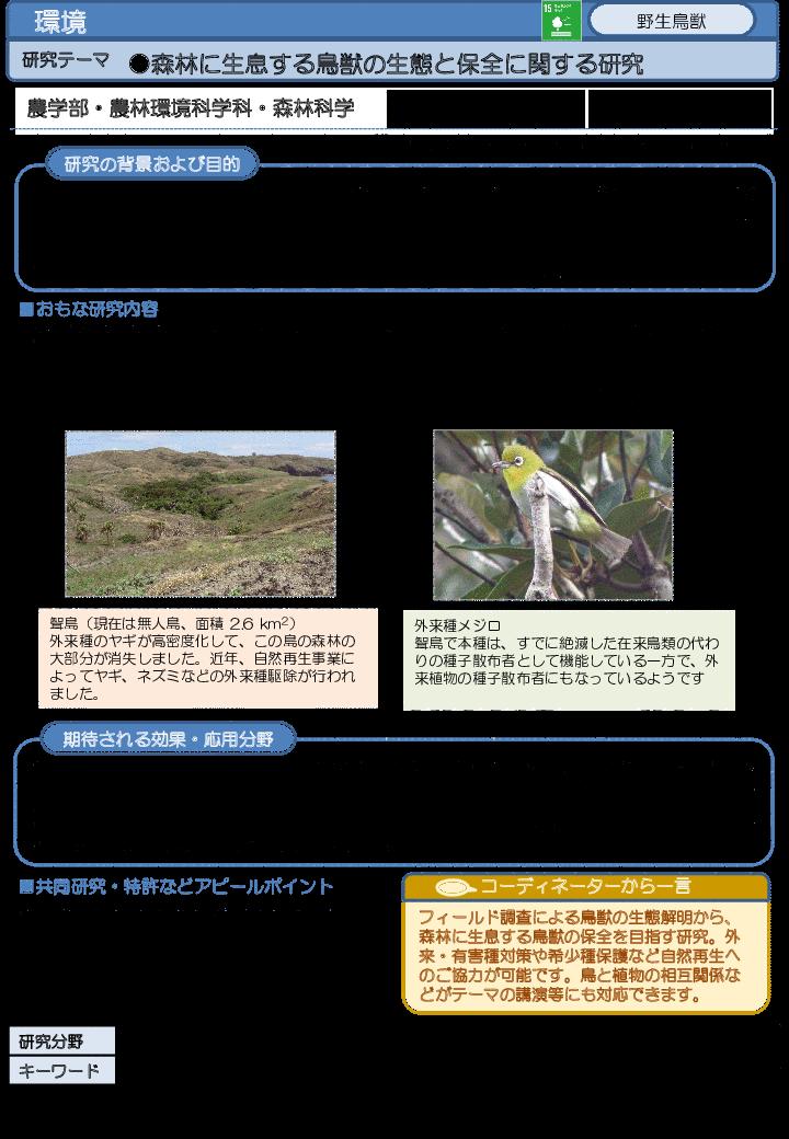 森林に生息する鳥獣の生態と保全に関する研究