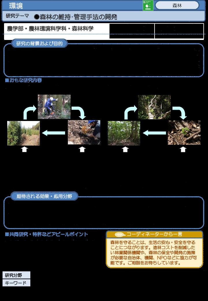 森林の維持・管理手法の開発