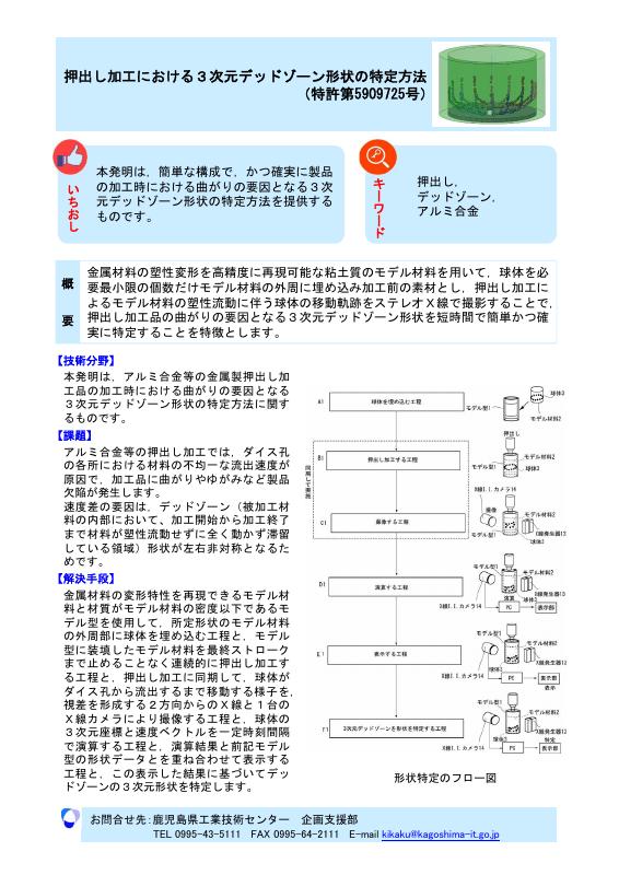 押出し加工における3次元デッドゾーン形状の特定方法 (特許第5909725号)