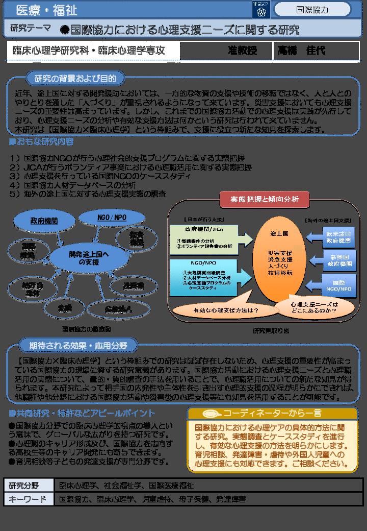 国際協力における心理支援ニーズに関する研究