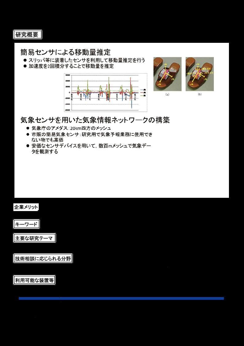 各種センサー応用に関する研究
