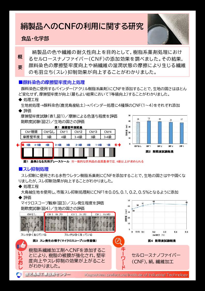 絹製品へのCNFの利用に関する研究
