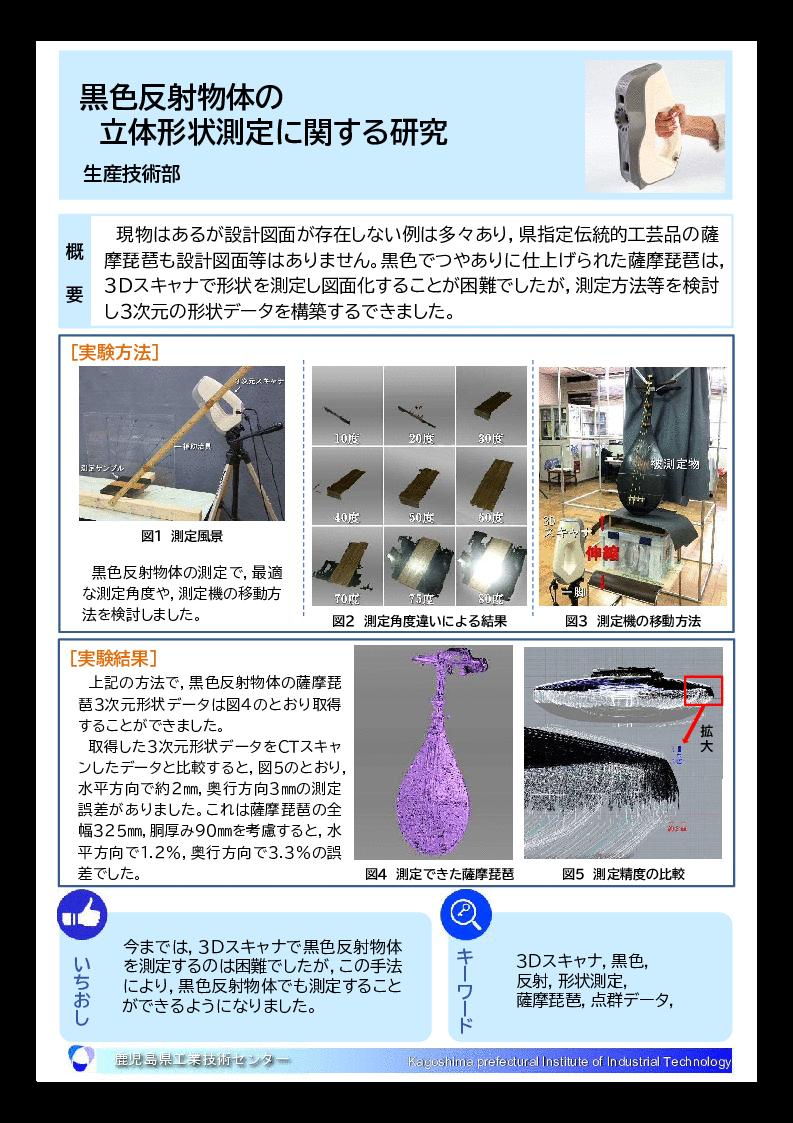 黒色反射物体の 立体形状測定に関する研究