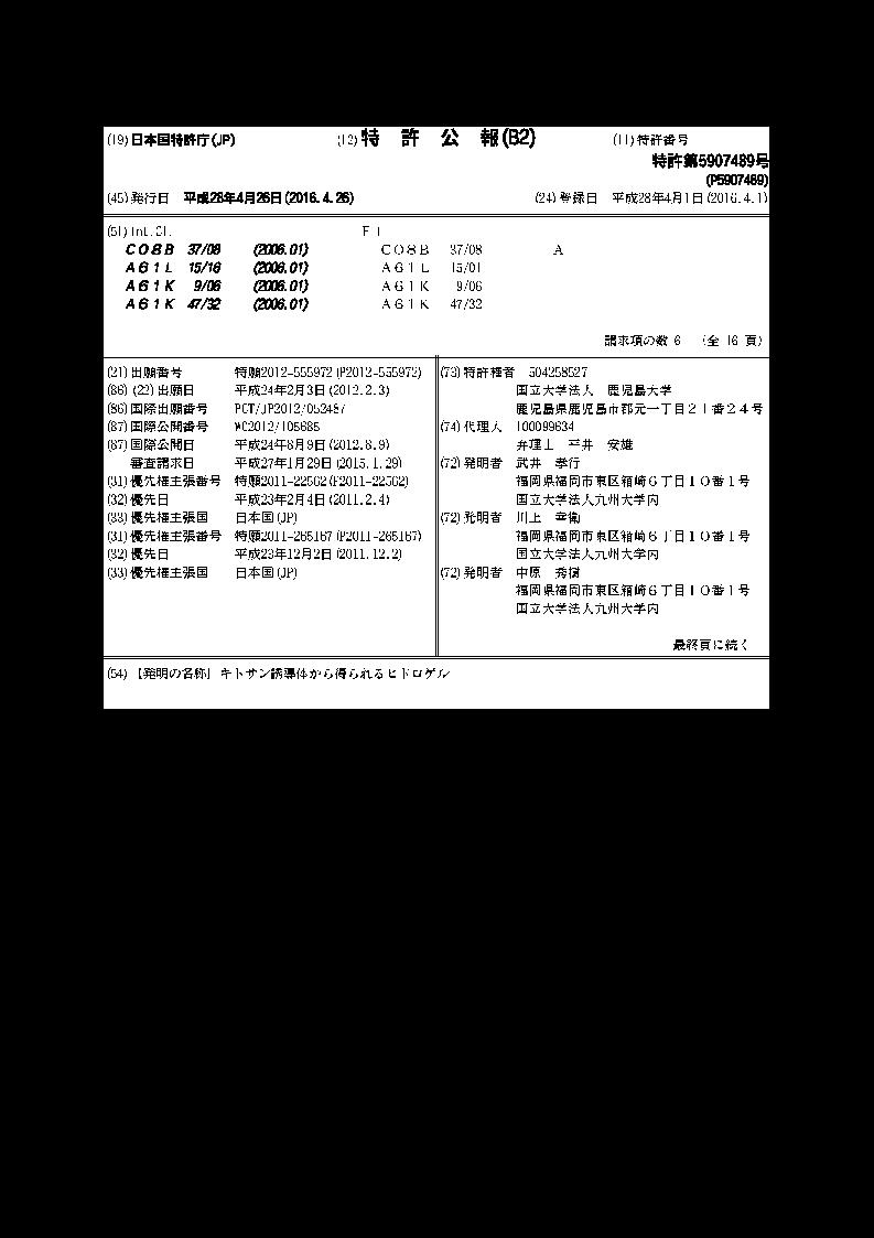 キトサン誘導体から得られるヒドロゲル
